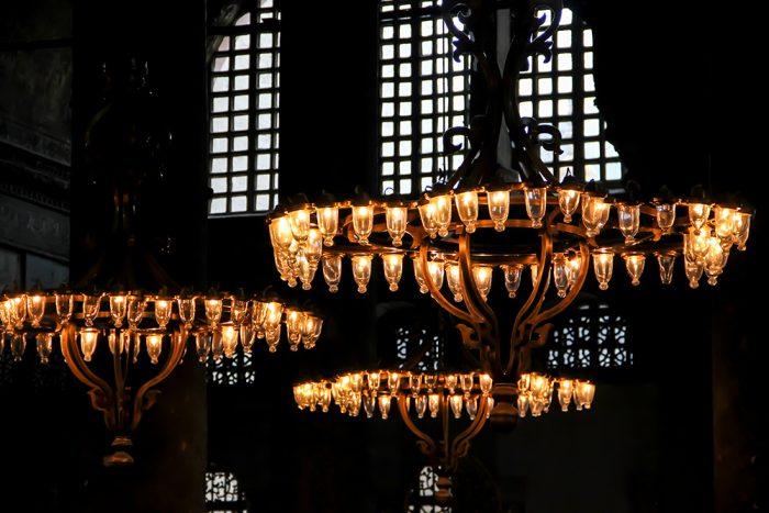 Byzantine Style Chandeliers Inside Hagia Sophia In Istanbul Turkey