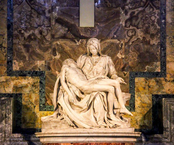 Pieta Statue By Michelangelo In St. Peters Basilica In Vatican City