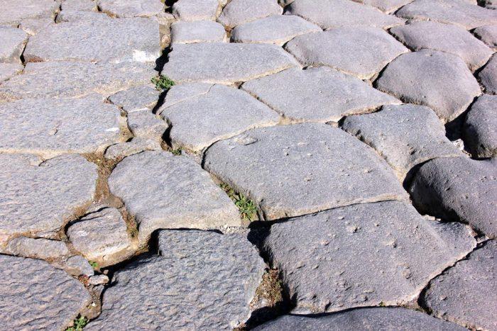 A Stone Street In Pompeii Italy