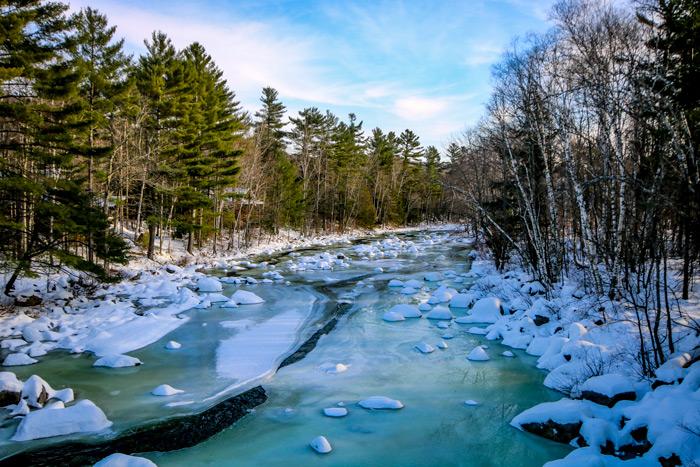 Carrabassett River With Ice Chunks