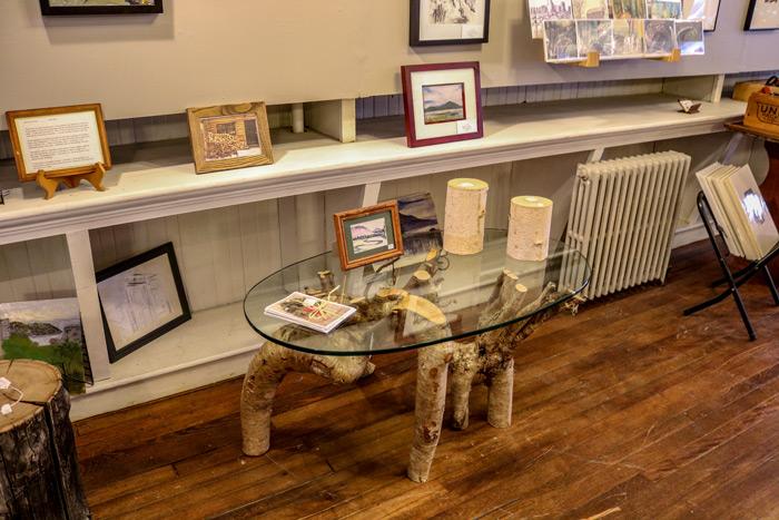 Birch Wood Glass Table